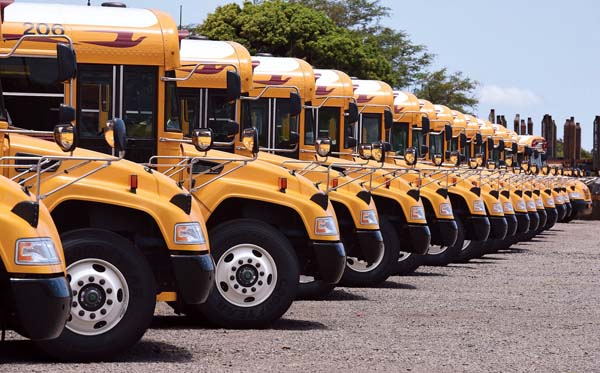 Ground Transport Inc. school buses are lined up at the Central Maui Baseyard along Mokulele Highway on Aug. 1. The last two suspended bus routes for Baldwin High and Iao Intermediate have been restored. The Maui News / MATTHEW THAYER photo