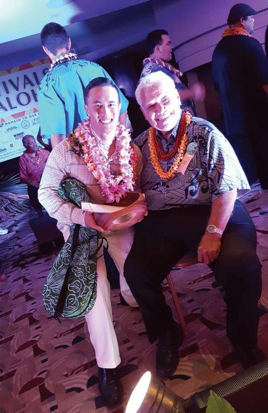 2016 Falsetto contest winner Gregory Kahikina Maxwell Juan with Richard Ho'opi'i • Saturday. Photo priovided by Smythe Fujiwara Design