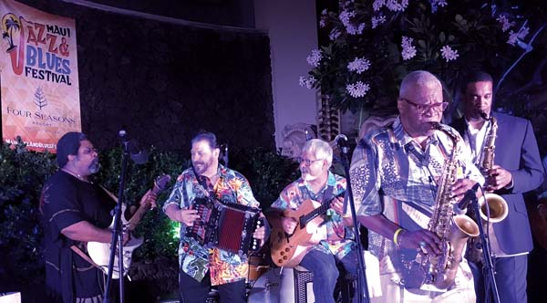 Jimmy D. Lane (from left), Jo-El Sonnier, Fareed Haque, Bobby Watson, and Javon Jackson were the Maui Jazz & Blues Festival headliners performing on Friday at the finale of the sold-out event at the Four Seasons Resort Maui at Wailea. Kenneth Martinez Burgmaier photo