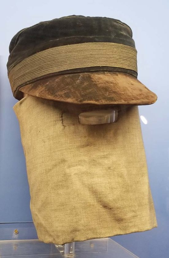 "The ""hood"" he wore as displayed at the Royal London Hospital. Ricky Jones photo"