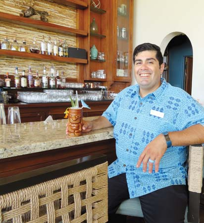 Luana Lounge's lead mixologist Aaron Alcala Mosley knows how to put a fun spin on cocktails at Tiki Tuesdays in Fairmont Kea Lani in Wailea. -- Fairmont Kea Lani photo
