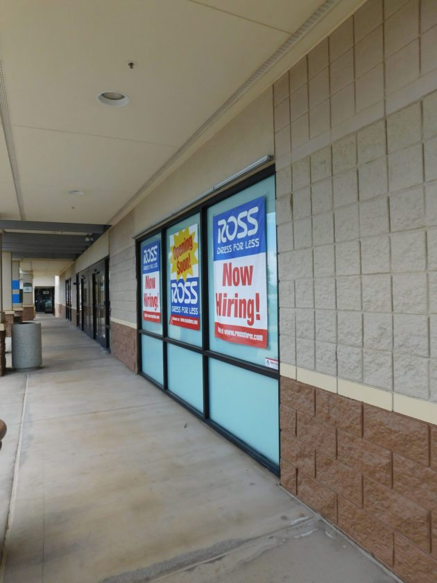 Posters announce the future home of Ross Dress for Less at the Piilani Village Shopping Center in Kihei on Monday. The store will open Oct. 6. • The Maui News / LEAH SHERMAN photo