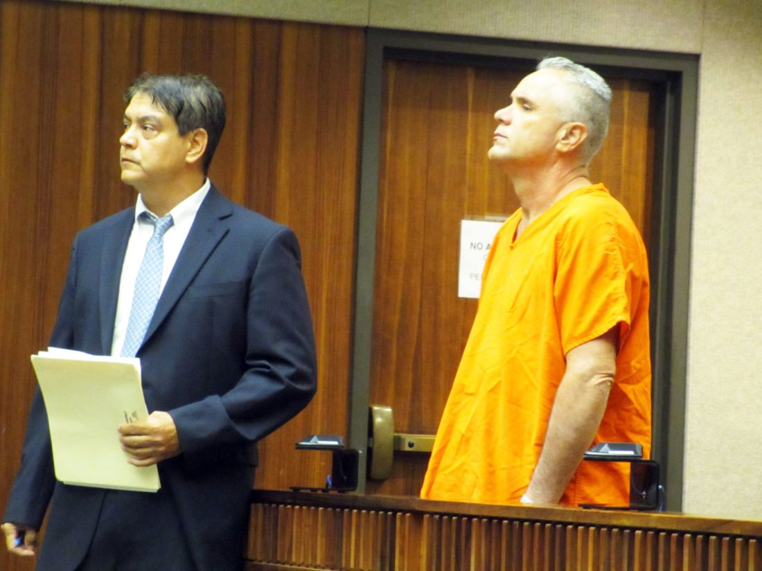 David Sheffield appears in 2nd Circuit Court with his attorney, Matthew Kohm, on Tuesday morning. Sheffield was sentenced to a 20-year prison term for kidnapping. • The Maui News / LILA FUJIMOTO photo