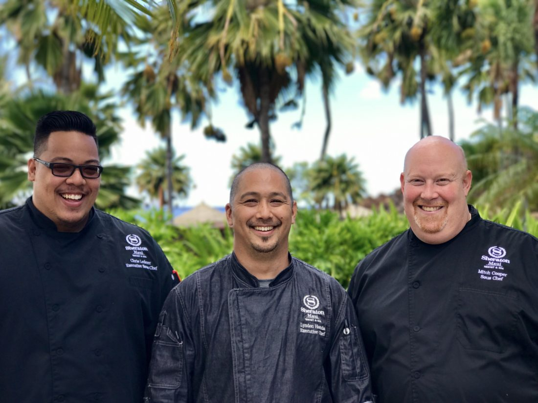 Sheraton Maui Resort & Spa's new culinary team includes Chris Lederer (from left, first photo), Lyndon Honda and Mitch Cooper. • Sheraton Maui photo
