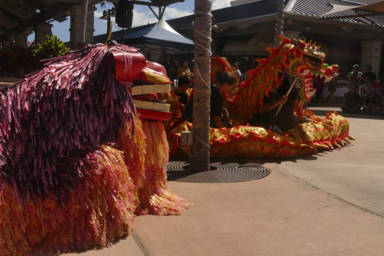 Okinawan lion and dragon await Maui Okinawan Festival to begin; photo by Nagamine Studio.