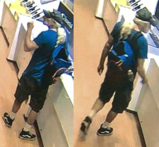 Surveillance photos show a man suspected of stealing a speaker valued at more than $400 from a Kahului store.