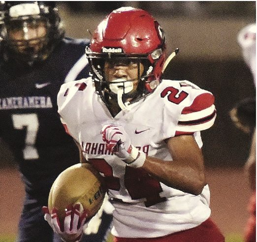 Elijah Ragudo of Lahainaluna High School ranks second in the Maui Interscholastic League in rushing yards. • The Maui News / MATTHEW THAYER photo