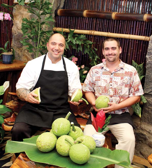 Mama's Fish House Executive Chef Perry Bateman and food-runner Justin Gera at the Kuau restaurant. Bateman will share his manao, or thoughts, at the Ulu Cook Off at Hana Ball Park Oct. 12. -- The Maui News / CARLA TRACY photo