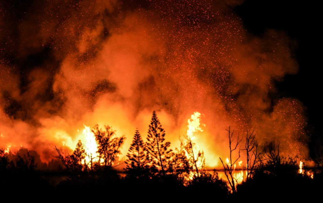 Flames can be seen in former macadamia nut fields near Kahekili Highway on Saturday night. • www.instagram.com/ryanbrem / RYAN BREM photo