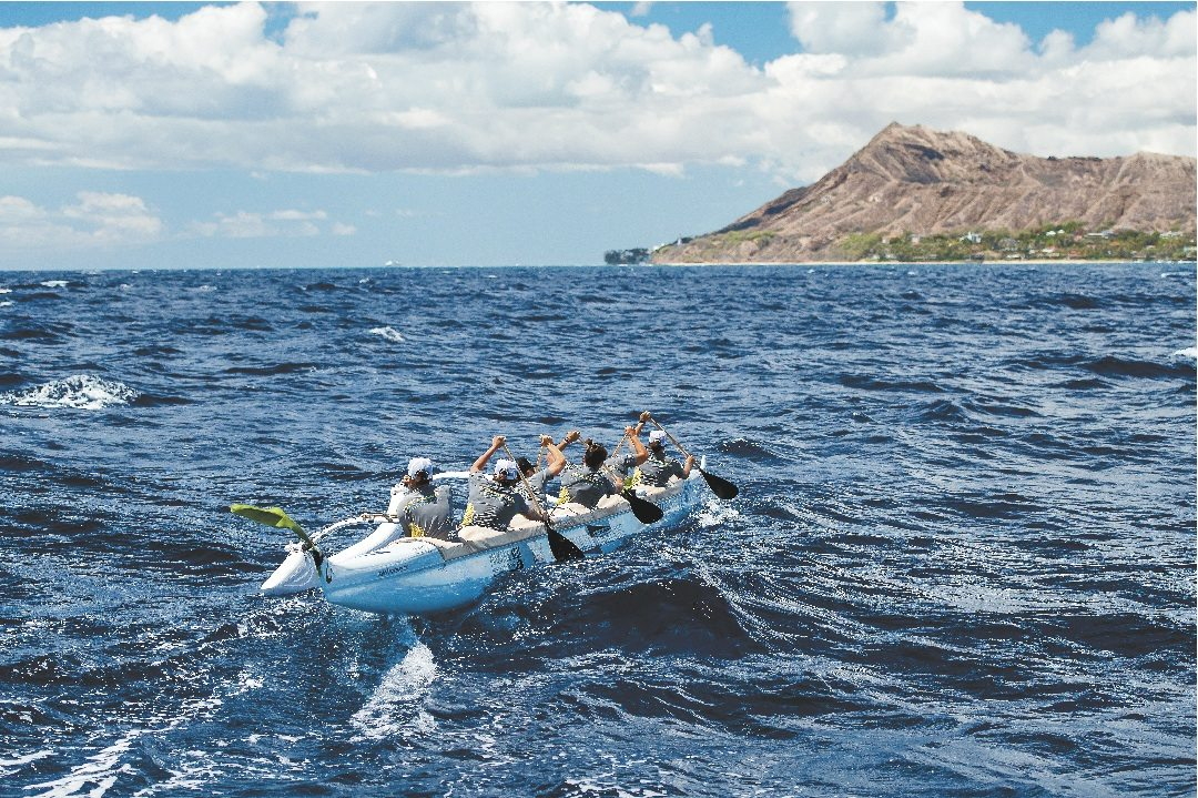 Team Bradley heads to a victory in Sunday's Na Wahine O Ke Kai — the crew completed the approximately 41-mile course from Molokai to Oahu in 5 hours, 55 minutes, 22 seconds. • 808photo.me / JOHANN MEYA photo