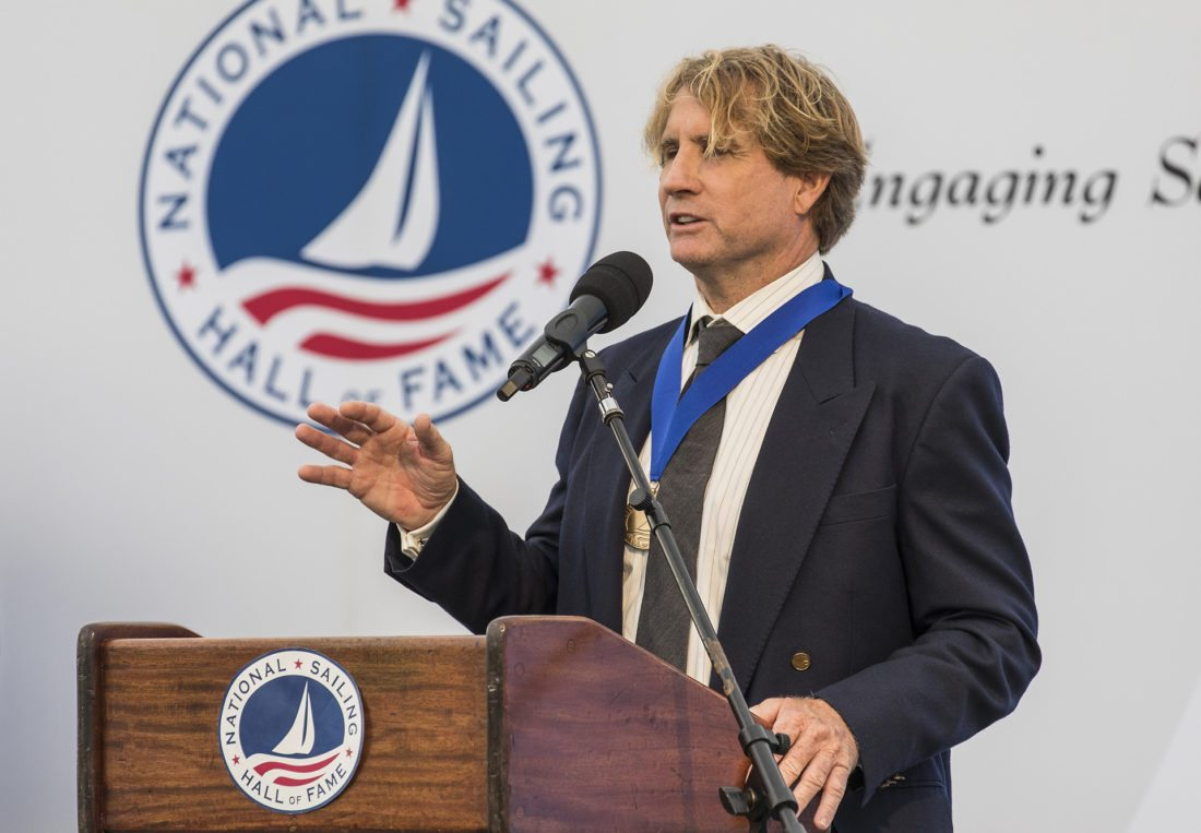 Robby Naish speaks during the National Sailing Hall of Fame induction ceremony Sunday in Newport, R.I. • National Sailing Hall of Fame / STEPHEN CLOUTIER photo