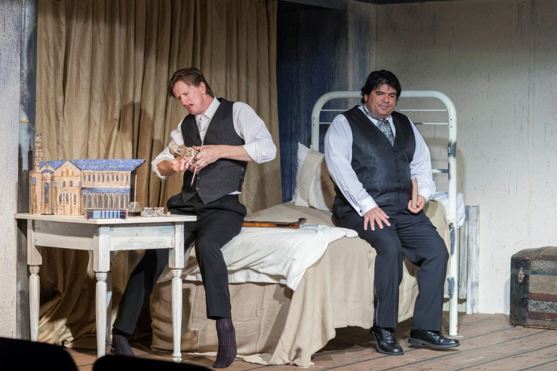 """Ricky Jones is John Merrick (left) and Frances Tau'a is Dr. Frederick Treves in ProArts Playhouse production of """"The Elephant Man."""" • JackGrace photo"""