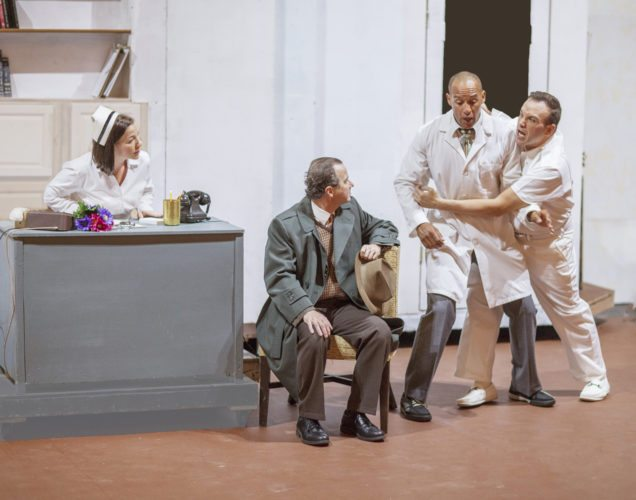 """Shyela Stephens (from left), Michael Pulliam, Michael A. Harrell and Ross Young add to the mayhem in Maui OnStage's 2017-18 season opener, """"Harvey,"""" which opens Friday and continues through Oct. 15 at the Historic Iao Theater in Wailuku. Performances are 7:30 p.m. Fridays and Saturdays and 3 p.m. Sundays. Tickets range from $20 to $40. For more information or to purchase tickets, call 242-6969 or order online at www.mauionstage.com. • Jack Grace photo"""