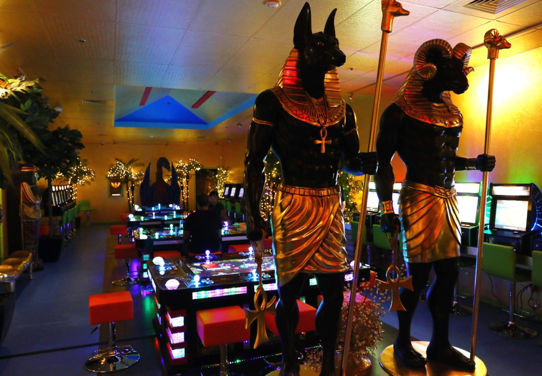 The 4,500-square-foot Temple of the Pharaohs arcade is covered in ancient Egyptian decor and will be part of a larger entertainment complex under the name Treasure Island and the Lost City of Gold. • The Maui News / CHRIS SUGIDONO photo