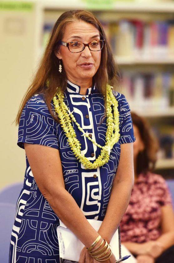 State Board of Education Member Kili Namau'u speaks at the beginning of Friday's meeting.  -- The Maui News / MATTHEW THAYER photo