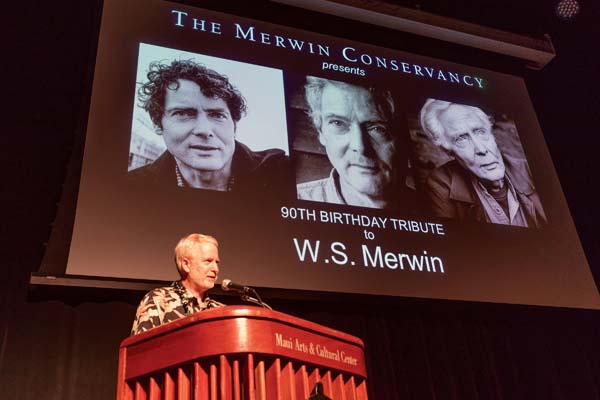 "Matthew Schwartz, the eldest son of the late Paula Merwin and president of The Merwin Conservancy's board of directors, gives a touching birthday tribute to the world-renowned poet. ""He is a great teacher, as well as a great friend and a father,"" he said. -- The Merwin Conservancy / BRYAN BERKOWITZ photo"