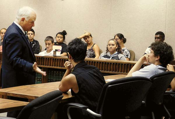 Second Circuit Chief Judge Joseph Cardoza talks to King Kekaulike High School students about treatment courts and careers in the Judiciary on Friday morning. The students are in a career exploration development class that was on a field trip to the courthouse. -- The Maui News / LILA FUJIMOTO photo