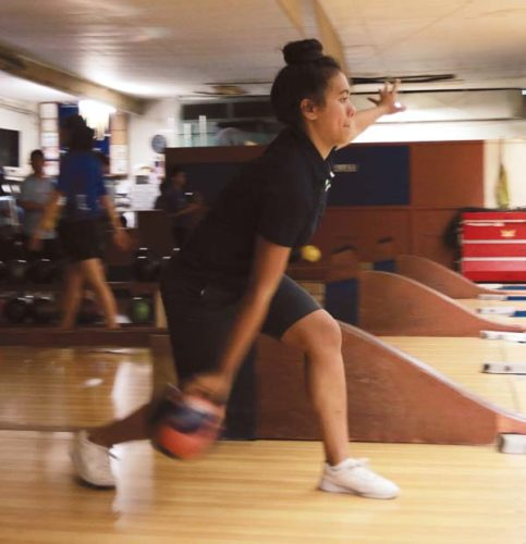 Ashley Taylor Peralta bowls for Kamehameha Schools Maui during a 3-0 win over Kihei Charter on Saturday at Maui Bowling Center. -- AP photo