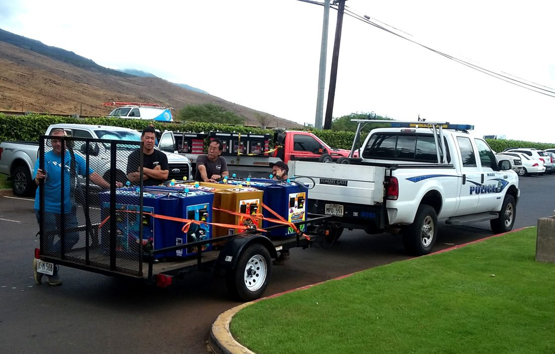 Maui police executed a search warrant and seized 25 gaming machines at the Temple of Pharaohs at the Maalaea Harbor Shops at about 11 a.m. Monday. Two arrests were made as well. • KEVIN J. OLSON photo