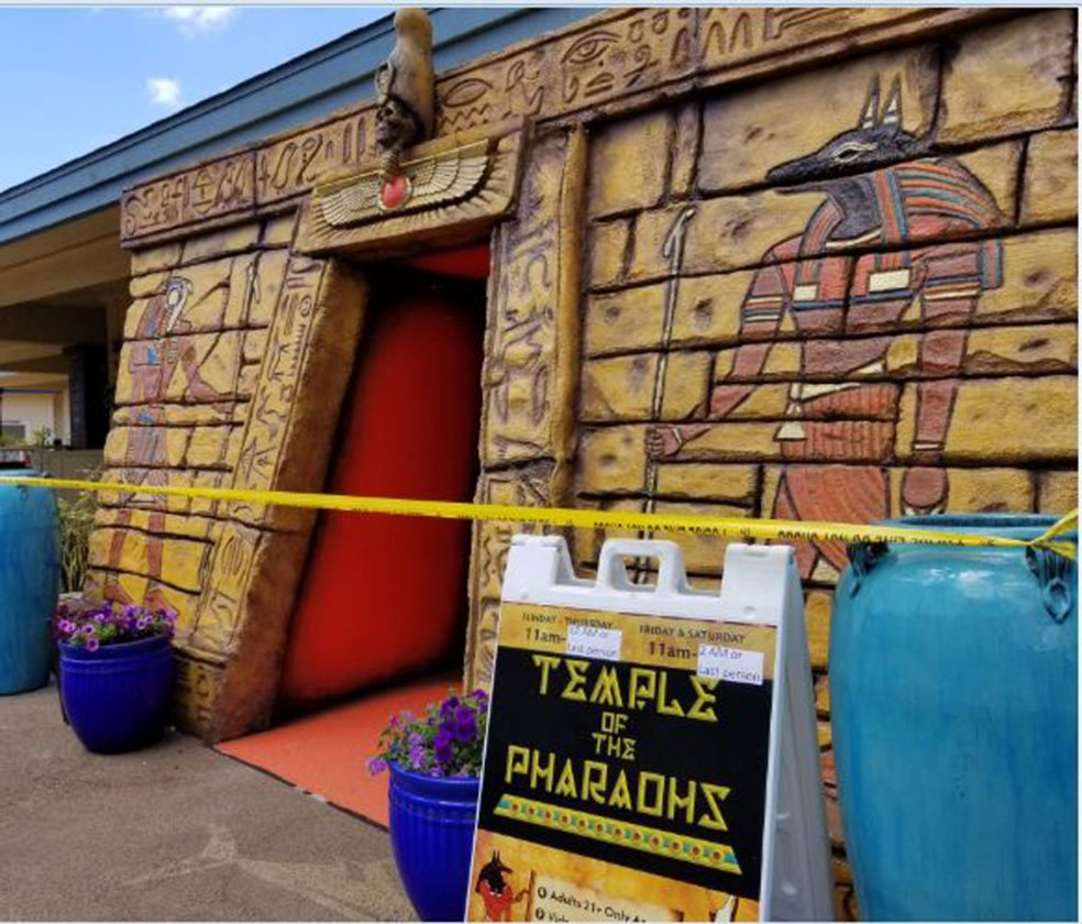 The entrance to the Temple of Pharaohs video arcade was taped off while a search warrant was executed Monday morning at the Maalaea Harbor Shops. • Maui Police Department photo