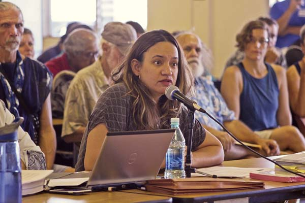 Summer Sylva of the Native Hawaiian Legal Corp. delivers closing arguments before the state Commission on Water Resource Management Monday at the Haiku Community Center. Sylva was representing Na Moku Aupuni O Ko'olau Hui, a group of East Maui residents calling for restoration of flow to more than 20 streams that have been diverted for sugar cane cultivation. The commission heard final arguments in the 16-year-old case from Na Moku, Maui Tomorrow, Alexander & Baldwin and Maui County on Monday. Now, it's weighing its decision. The Maui News / COLLEEN UECHI photo