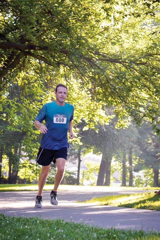 Sage Sarchet, shown competing in the Hagerstown 5K in Maryland, will attempt to post a Boston Marathon-qualifying time of sub-3 hours, 25 minutes when he runs the Maui Marathon on Sunday — his first attempt at the 26.2-mile distance. JILL SARCHET photo