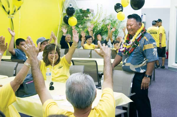 Mayor Alan Arakawa is shown at a 2014 campaign event. The Campaign Spending Commission is investigating post-election expenditures for Arakawa's campaign including donations to nonprofits listed as advertising.  The Maui News / CHRIS SUGIDONO photo