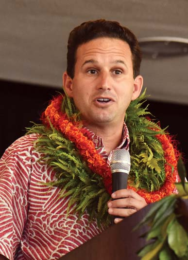 U.S. Sen. Brian Schatz, the event keynote speaker, said that, fortunately, authentic stories are exactly what visitors to Hawaii want.  The Maui News / MATTHEW THAYER photo