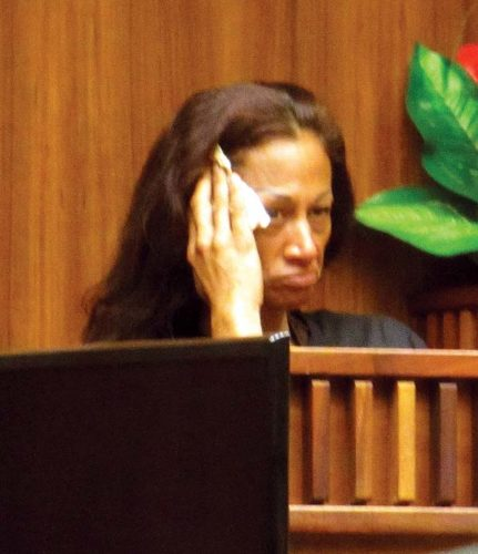 Kaleolani Keohuhu wipes away tears as she testifies Wednesday in the 2nd Circuit Court attempted-murder trial of Calvin Borge. The Maui News / LILA FUJIMOTO photo