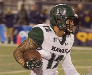 Keelan Ewaliko will try to help Hawaii earn its first victory in five games today. -- AP photo