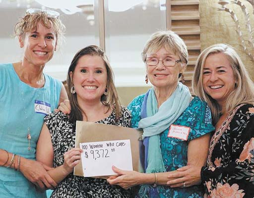 100 Plus Women Who Care Maui Founder/Director Chelsea Hill (from left) presents donation checks to Malama Development Coordinator Frances Duberstein, 100 Plus WWC Maui member Jeanne Duberstein (who nominated Malama) and 100 Plus WWC Maui member/Malama board member Amy Petersen.