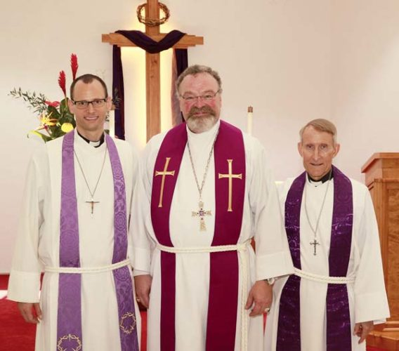 Joshua Schneider, senior pastor at Emmanuel Lutheran Church (from left); Matthew Harrison, president of the Lutheran Church Missouri Synod; and Paul Roschke, associate pastor at Emmanuel Lutheran, pose for this photo in March 2017. Harrison, who was vacationing on Maui, was a guest preacher and speaker. -- Emmanuel Lutheran photo