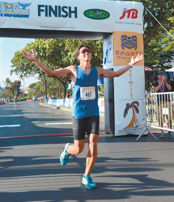 Tetsuya Yoroizaka celebrates his victory. The Maui News / MATTHEW THAYER photo