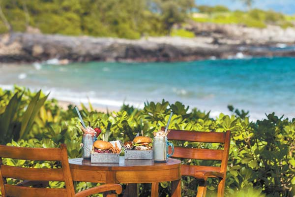 Set oceanfront at The Ritz-Carlton, Kapalua, The Burger Shack will offer a burger and milkshake lunch combo at a discount during Kapalua Restaurant Week. Photo courtesy the resorts