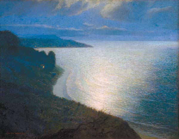 """Moonlight Over Diamond Head"" by Lionel Walden is considered to be one of the greatest seascape artists to work in Hawaii. Photo courtesy Maui Arts & Cultural Center"