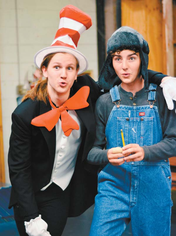 """Jeremiah Webb (from left) as the Cat in the Hat guides Ian Smith, as Horton the elephant, in Maui OnStage Youth Theater's performance of """"Seussical Jr."""" Brett Wulfson photo"""