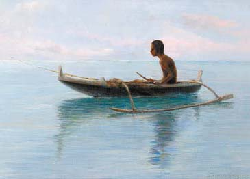 "Land- and seascape artist D. Howard Hitchcock's  ""Hawaiian Boy in Canoe"" (left), is one of his few pieces which included a human figure. Photo courtesy Maui Arts & Cultural Center"
