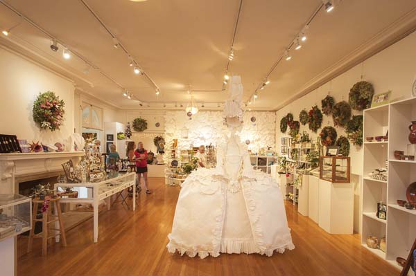 The paper dress installation at last year's Hui Holidays -- Photo courtesy the Hui No'eau Visual Arts Center