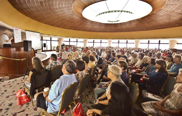 Fraud expert and former con artist Frank Abagnale speaks at King Kamehameha Golf Club during Saturday's AARP Fraud Watch Network presentation. -- The Maui News / MATTHEW THAYER photo