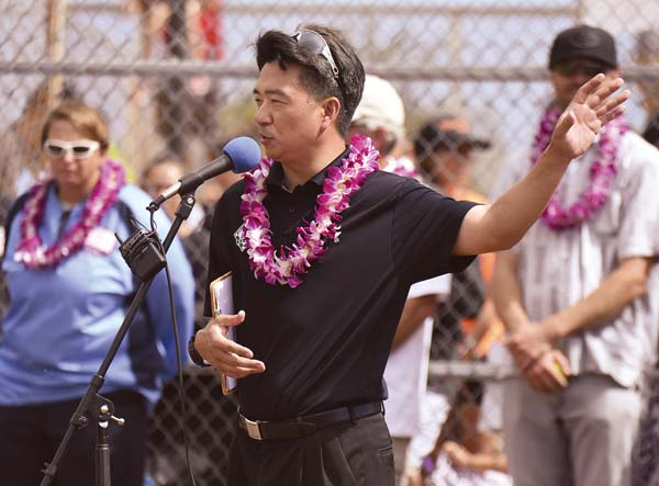 Lt. Gov. Shan Tsutsui speaks at the opening of the Central Maui Regional Sports Complex in Kahului in 2016. -- The Maui News / MATTHEW THAYER photo