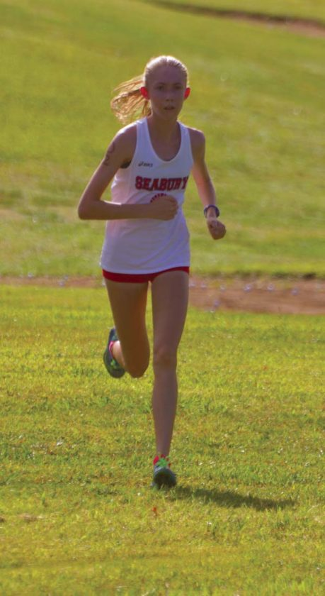 Seabury Hall's Kallalei Ryden heads to a girls runner-up finish. -- The Maui News / BRAD SHERMAN photo