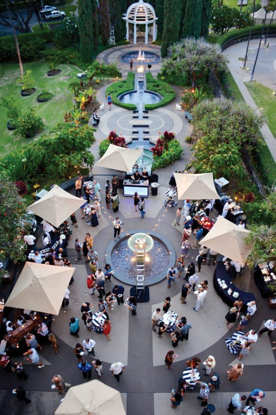 An overhead view of Fairmont Kea Lani's sprawling courtyard showcases the reception area that will be utilized again for this year's reception. For dinner, attendees move into the massive ballroom. MARK ANTOSCH photo