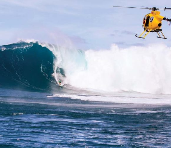 Ian Walsh rides a wave on the way to posting Friday's best Peahi Challenge score. -- World Surf League / RICHARD HALLMAN photo