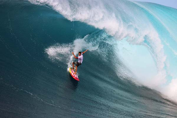 Kai Lenny competes during the first round of the Peahi Challenge on Friday.  -- World Surf League / RICHARD HALLMAN photo