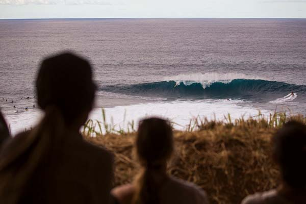 Spectators watch Albee Layer from the shore.  -- World Surf League / TONY HEFF photo