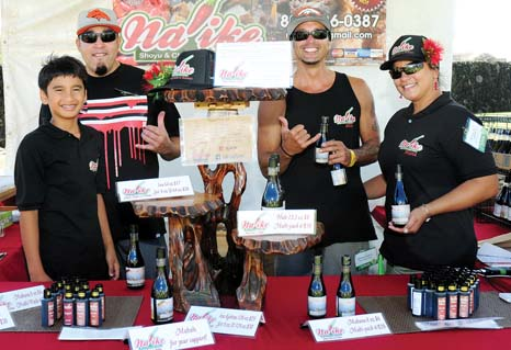 Na 'ike Molokai shoyu-vinegar-chili-water group Mykal Kahinu (from left), Angel Kahinu, Mike Kahinu and Nani Kahinu -- Photo courtesy Made in Maui County Festival