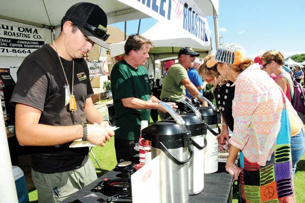 David Gridley of Maui Oma Coffee Roasting Co. (in black baseball hat) joins other coffee vendors at last year's event and will return again. -- Photo courtesy Made in Maui County Festival