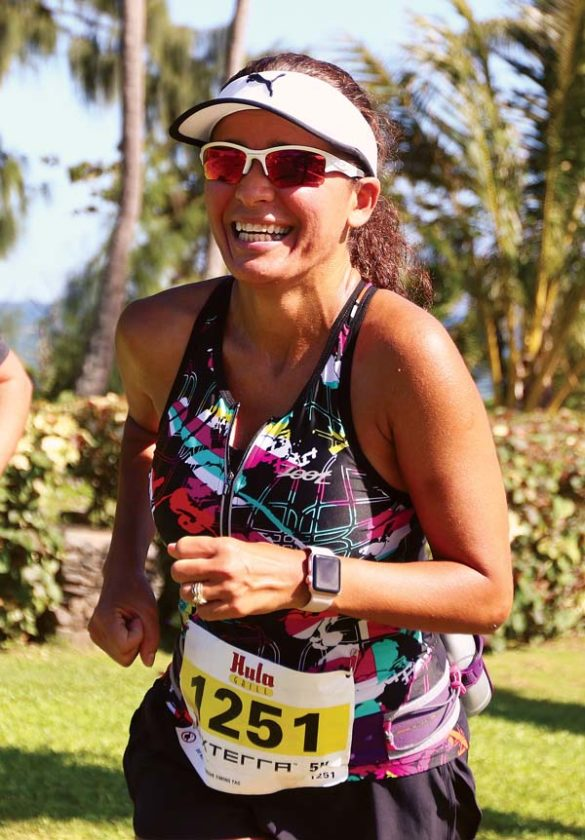 Sandra Gibbens heads to the 5K finish line. -- The Maui News / CHRIS SUGIDONO photo