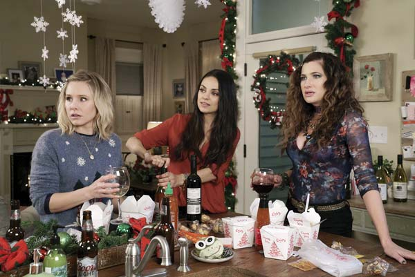 "Kristin Bell (from left), Mila Kunis and Kathryn Hahn rebel against society's expectations in ""Bad Moms Christmas."" STX Entertainment via AP"