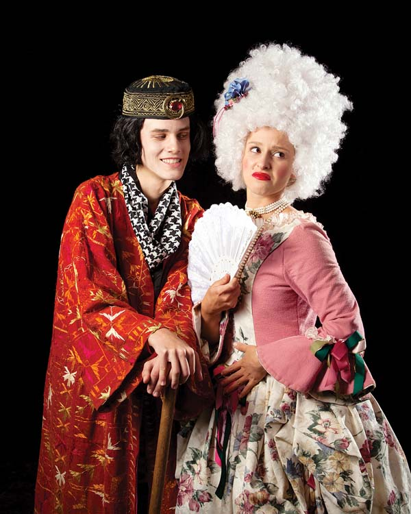 """Carver Glomb (left) is """"The Wanna-Be Gentleman"""" as Camille Erdman looks away in distaste during Seabury Hall Performing Arts' adaptation of Moliere's """"The Bourgeois Gentleman."""" The show runs Nov. 11 through 19 with performances at 7 p.m. Fridays and Saturdays and at 3 p.m. Sunday at the 'A'ali'ikuhonua Creative Arts Center in Makawao. Tickets are $12 for adults, $10 for seniors and $5 for students. For more information or to purchase tickets online, visit www.seaburyhall.org. Peter Swanzy photo"""